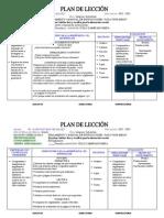 PLAN DE LECCION  5to. AÑO DE LENGUA Y LITERATURA