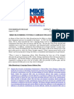 08.19.09 MIKE BLOOMBERG UNVEILS CAMPAIGN FINANCE REFORM PLAN