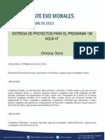 """ENTREGA DE PROYECTOS PARA EL PROGRAMA """"MI AGUA III""""  30-11-13"""