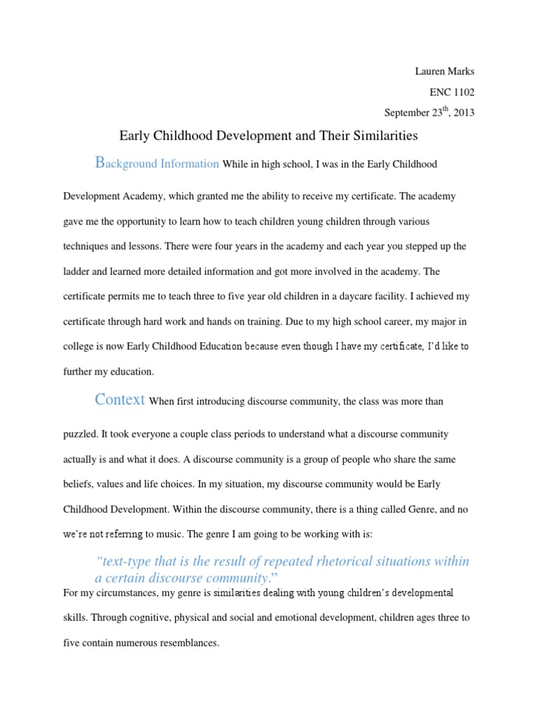 Enc1102 Genre Final Child Development Developmental Psychology