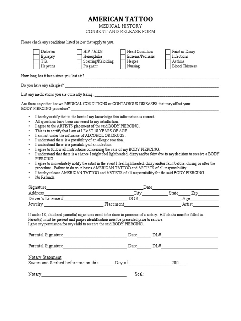 american tattoo piercing form tattoo infection - Tattoo Release Form