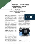 DETERMINACIÓN DE LA CONSTANTE DE RYDBERG MEDIANTE LINEAS ESPECTRALES