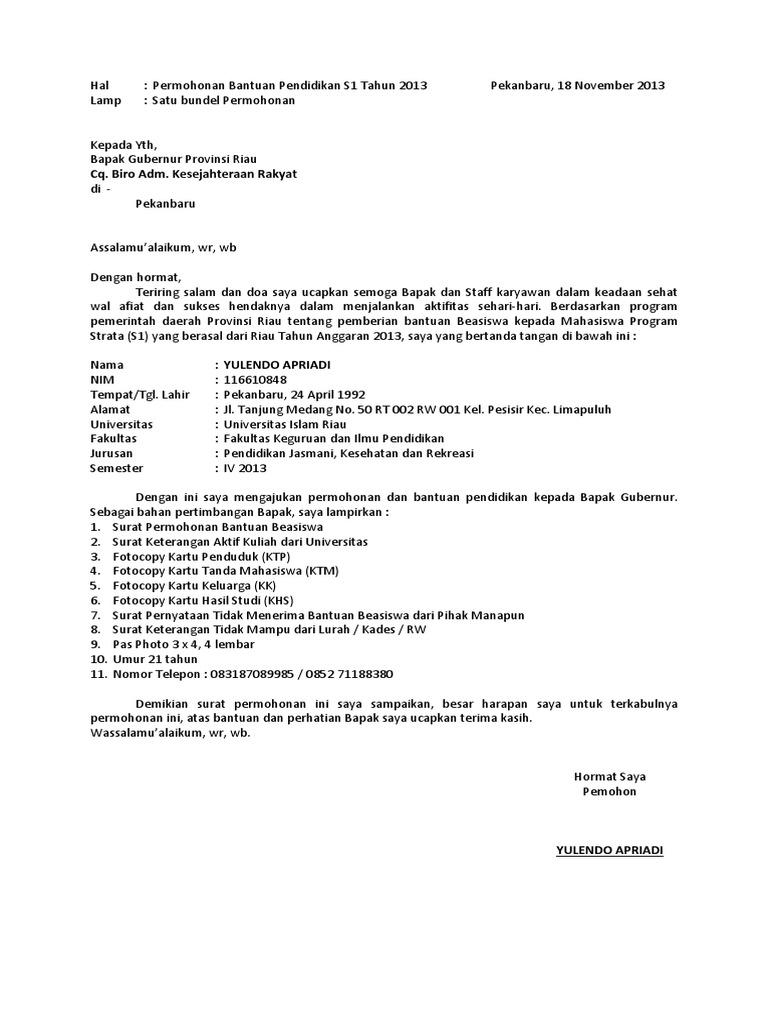 Surat Permintaan Bantuan Kuliah