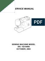 Kenmore 385.15218400 Sewing Machine Service Manual
