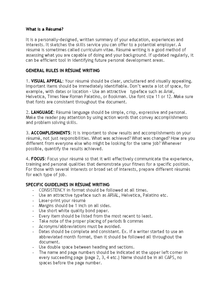 Resume Format and Professional Grooming Guide | Résumé | Softlines ...