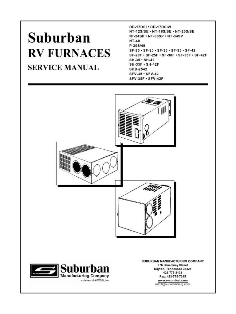 Suburban RV FURNACES SERVICE MANUAL | Thermostat | Ignition ... on