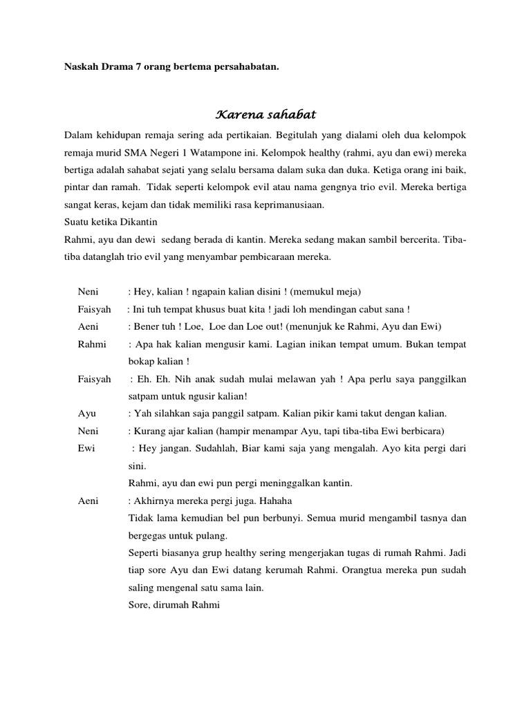 Contoh Teks Drama Singkat 7 Orang Tentang Persahabatan Brad Erva