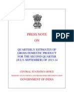 India GDP for 2Q year 2013-14 Released 29th November 2013