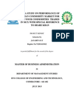 A Study on Performance of Indian Commodity Market for Top Four Commodities Traded in Mcxwith Special Reference to Share Khan