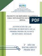 Justificacic3b3n de Las Opciones de Respuesta de La Primera Prueba de Avance de Estudios Sociales e28093 Segundo Ac3b1o de Bachillerato Praem 2013