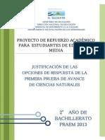 Justificacic3b3n de Las Opciones de Respuesta de La Primera Prueba de Avance de Ciencias Naturales e28093 Segundo Ac3b1o de Bachillerato Praem 2013