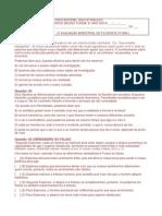 2ª AVALIAÇÃO BIMESTRAL DE FILOSOFIA 6º ANO (3º BIM.)