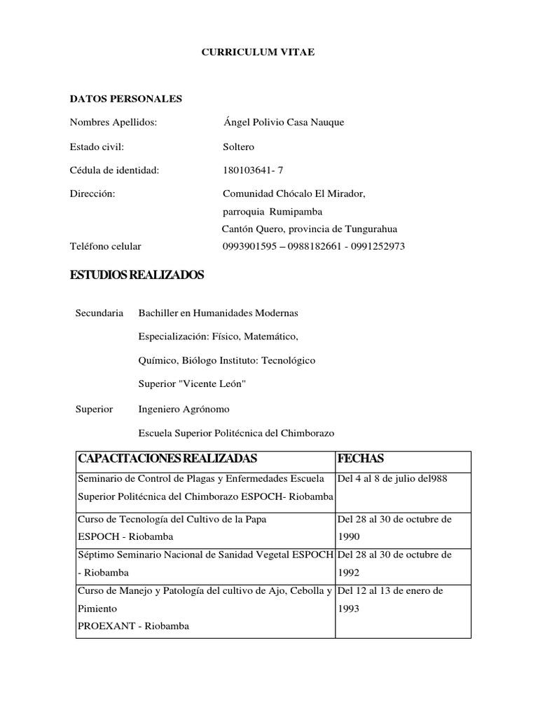 Vistoso Curriculum Vitae De Patología Vegetal Cresta - Colección De ...