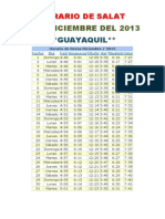 Horarios de Salats DICIEMBRE 2013 Ecuador