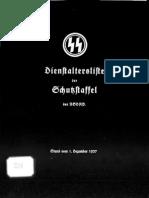 Reichsführer SS - Dienstaltersliste der Schutzstaffel der NSDAP 1937 (SS-Obergruppenführer - SS-Obersturmführer - SS-Untersturmführer)