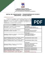 Edital de Transferência Nº 014 2013-  CONVOCAÇÃO SELEÇÃO TRANSFERÊNCIA- CAMPUS MACEIÓ