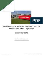 Halliburton Requests that Supreme Court Review Securities Legislation