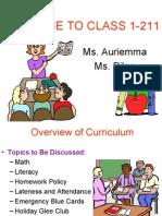 Parent-Teacher Curriculum Presentation