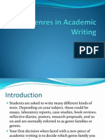 Genres in Academic Writing