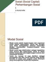 Modal Sosial (Social Capital) Dalam Perkembangan Sosial Budaya