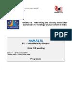 Programme - NAMASTE Kick Off Meeting