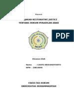 Makalah Restoratif Justice Tentang Hukum Peradilan Anak