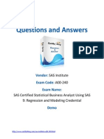 SAS Certified Statistical Business Analyst Using SAS 9 Regression and Modeling Credential