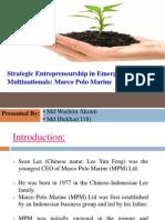 Strategic Entrepreneurship in Emerging Market Multinationals-Marco Polo Marine