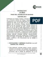 INSTRUCTIVO Nº 128 DE PAGO DE AGUINALDO GESTIÓN 2013 EN BOLIVIA