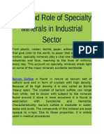 Industrial Sector - Role of Specialty Minerals