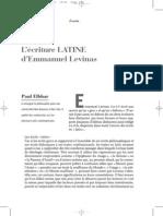 L'écriture latine d'Emmanuel Levinas Elbhar18
