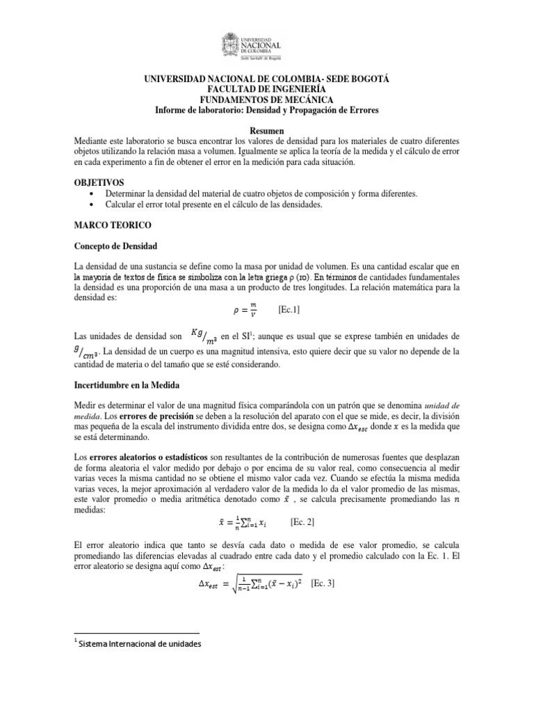 Informe Lab Densidad y Error