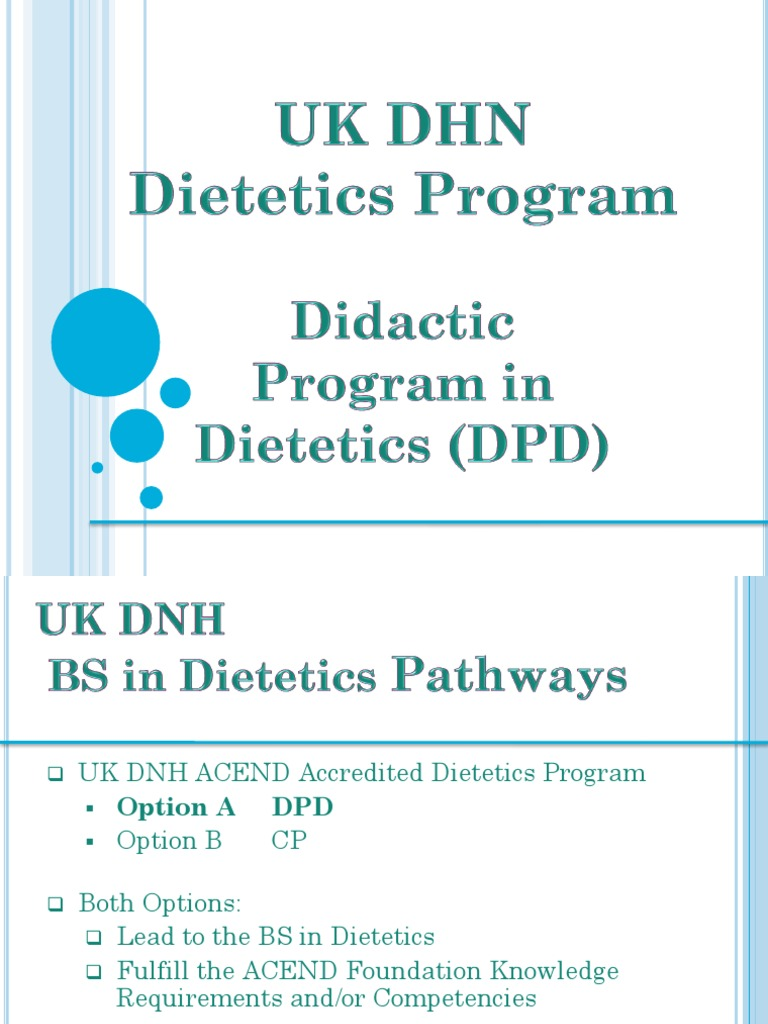 acend-accredited academic coursework in a didactic program in dietetics