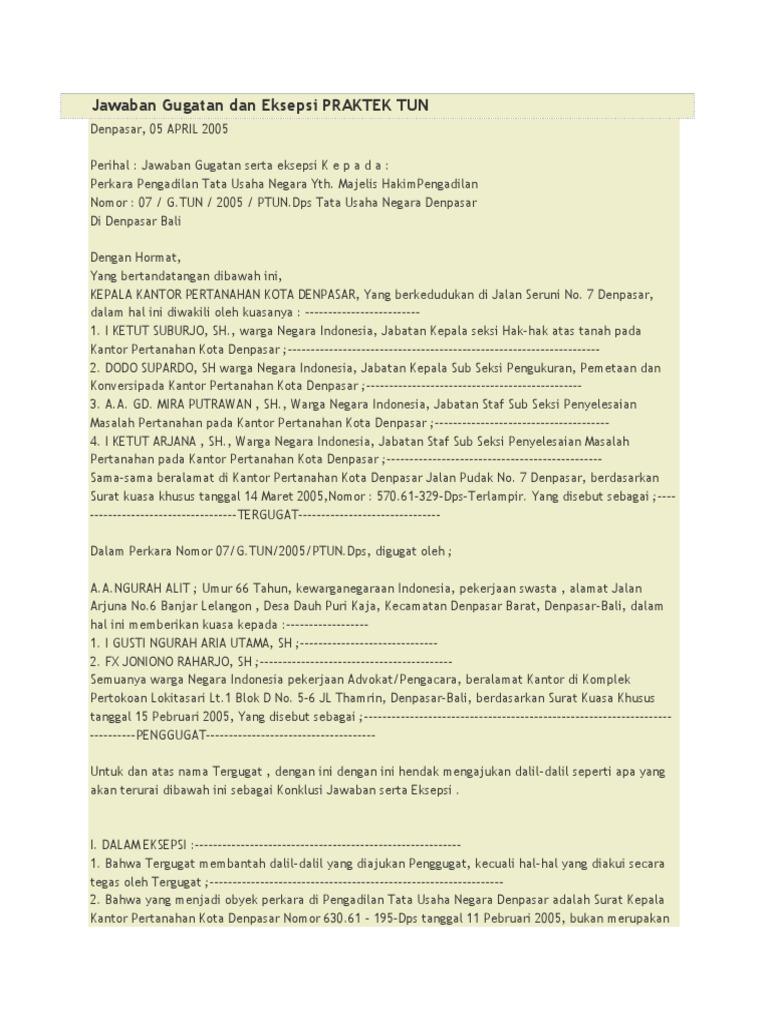 39+ Contoh surat jawaban gugatan ptun terbaru yang baik dan benar
