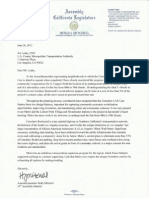 Assemblymember Holly Mitchell Letter Requesting Park Mesa Heights Tunnel