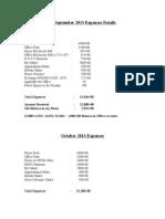 September 2013 Expences Details