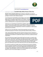 Akin Adesina  - Forbes Award Press Statement - 20131202