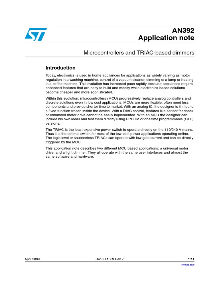 Microcontrollers And Triac Based Dimmers Cd00003820 Characteristics Microcontroller Mains Electricity