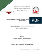 LA SUPREMACÍA CONSTITUCIONAL APLICADA AL PRINCIPIO PRO HOMINE