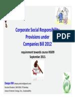 CSR Provisions Under Companies Bill 2012