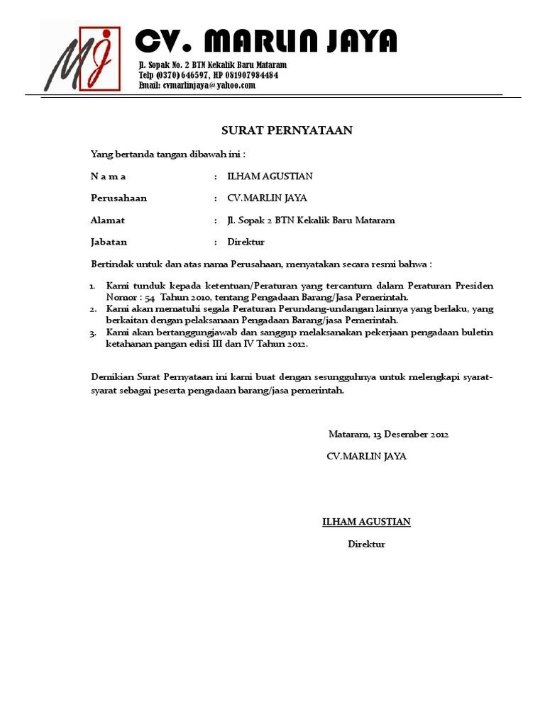 surat pernyataan tidak pailit dan tidak masuk daftar hitam