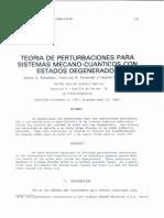 Teoria de Perturbaciones Para Sistemas Mecano Cuanticos Con Estados Degenerados
