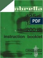 Lambretta Instruction Booklet DL125 DL150 DL200 Manual