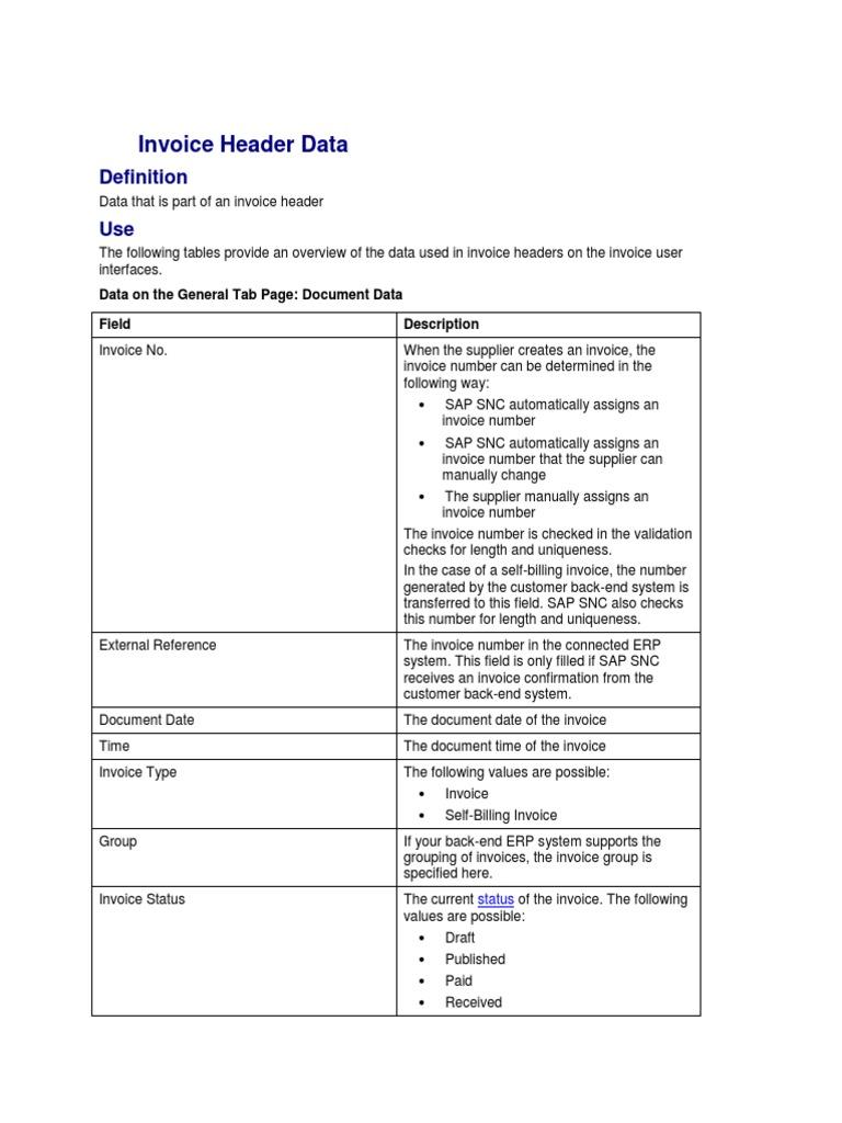 Invoice Header Data Discounts And Allowances Invoice - Invoice header