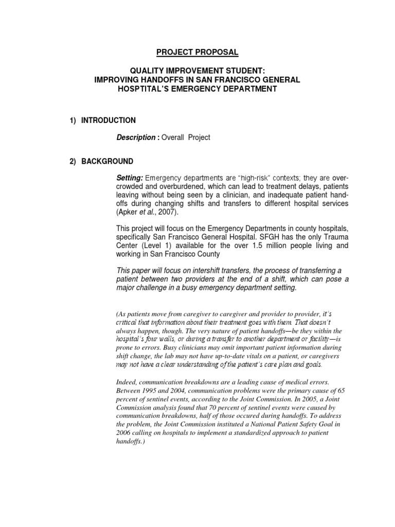 Project Proposal on Improving Quality | Unit Gawat Darurat