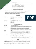 Chronological Sample Resume