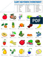 Food Fruit Vocabulary Matching Exercise Worksheet