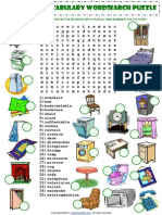 In My House Furniture Vocabulary Wordsearch Puzzle Worksheet