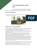 Site Engineer Skills Responsibilities