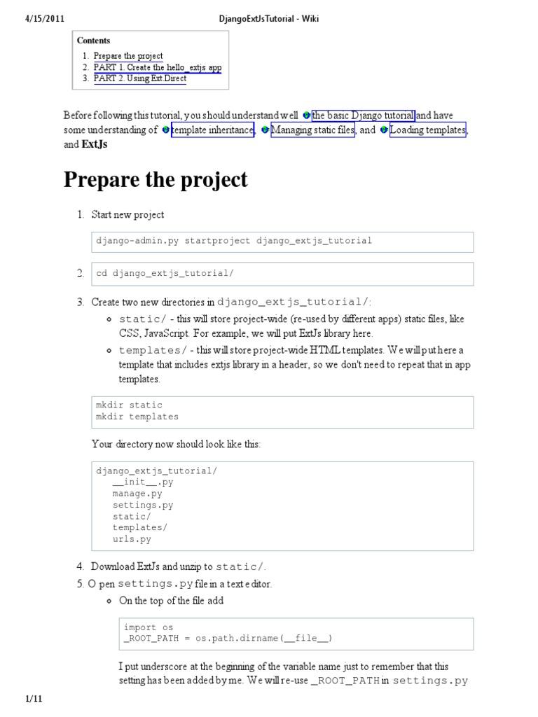 DjangoExtJsTutorial - Wiki | Ext Js | Java Script